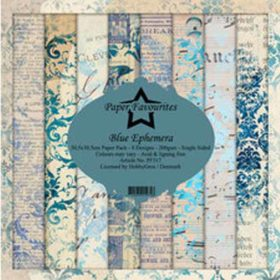 Dixi Craft Blue Ephemera 12x12 Inch Paper Pack