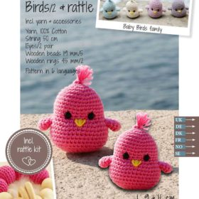 Crochet Kit - Baby birds & rattle, dark pink