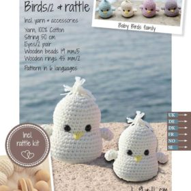 Crochet Kit - Baby birds & rattle, off-white