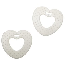Teether rings - heart off-white, 2pcs