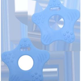 Teether rings - star baby blue, 2pcs
