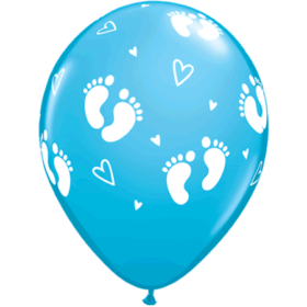 Ballonger - Baby Footprints & Hearts blue