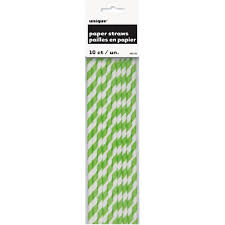 Straw lime green stripes
