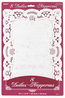 8 white placement doilies