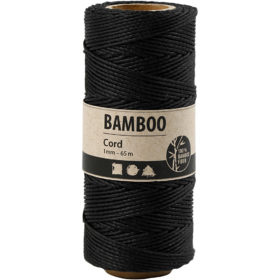Bambussnor, 1mm, 65m - sort