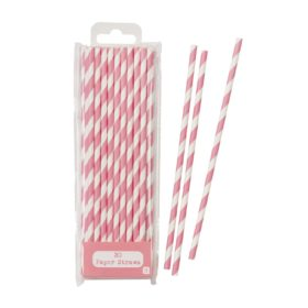 Mix & Match - paper straw pink, 30stk