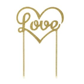 Cake topper - love gold
