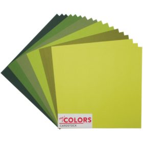 "My Colors Canvas Cardstock Bundle 12""X12"" 18/Pkg - green tones"