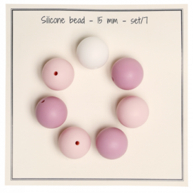 Silicone beads 15mm - rosamix 7stk