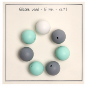Silicone beads 15mm - turkismix 7stk